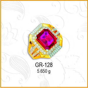22kt gold fancy cz gents ring gr-128