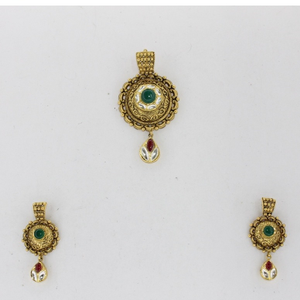 Trendy antique jadtar pendant set ps0003