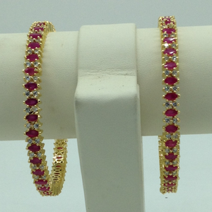 White and red cz stones bangles jbg0289