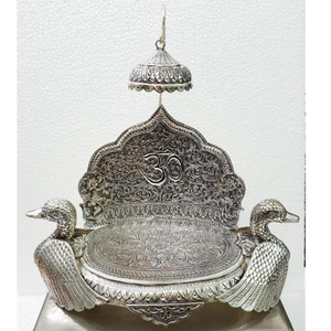 925 pure silver antique singhasan with ducks