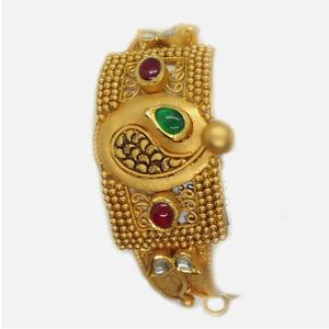 22kt gold antique wedding kada bangle rhj-489