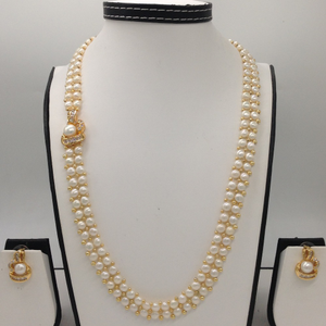 White cz and pearls broachset with 2line