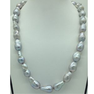 Freshwater grey oval baroque pearls 1 laye