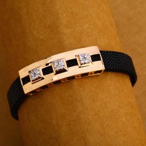 18kt rose gold cz mens leather bracelet mlb20