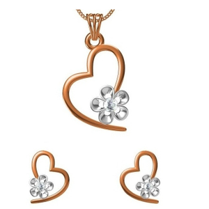18kt cz rose gold diamond pendant set