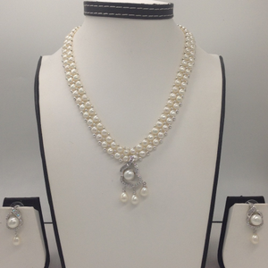 Whitecz and pearls pendentset with 2lin