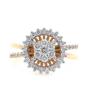 18kt / 750 rose gold flower diamond ring for