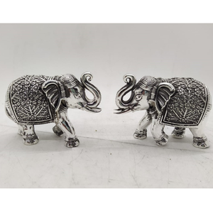 92.5 pure silver elephant pair with raised tr