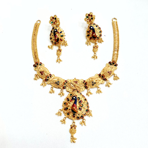916 gold kalkati necklace set mga - gn002