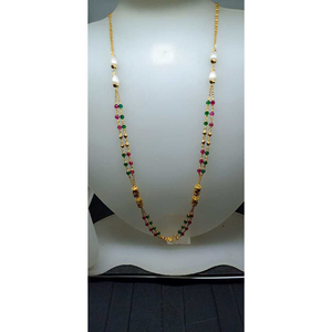 916 gold fancy black beaded chain mala