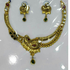 22k/916 gold antique jadtar necklace set