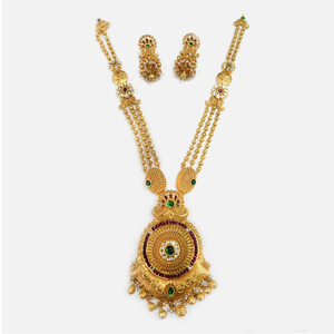 916 gold antique long necklace set rhj-0009