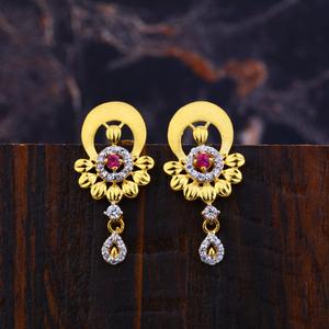 Ladies 916 gold fancy earrings-lfe135