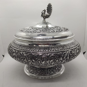 925 pure silver stylish serving bowl with pur