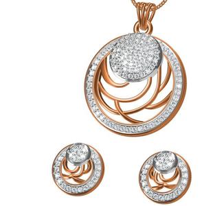 18kt cz rose gold diamond pendant set
