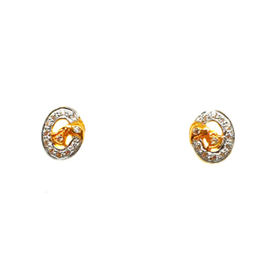 22k gold oval shaped earrings mga - btg0191