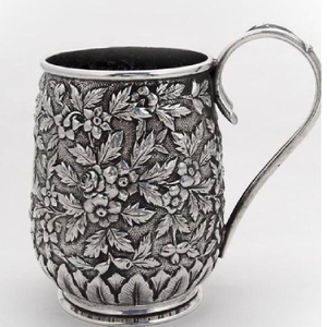 925 pure silver mug in high embossing po-158-