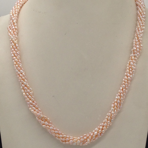 Freshwater pink ricepearls 7layers twiste