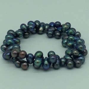Grey droppearls 2layer elastic bracelet