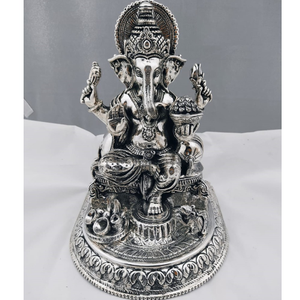 925 pure silver ganesha idol in antique finis