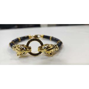 22k gents fancy leather bracelet g-4603