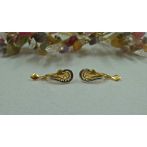18kt gold delicate press drop earrings