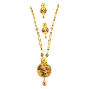 916 gold round shape checkers diamond necklac