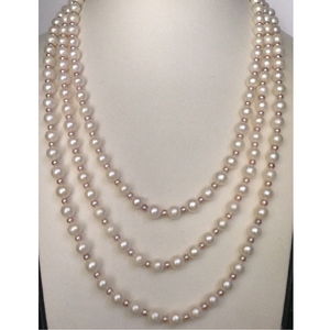 Freshwater white and pink round pearls long m