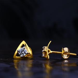 22kt gold fancy solitare earring lse68