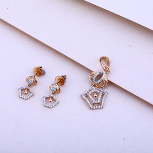 750  rose gold ladies cz pendant set rps30