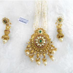 Gold antique jadtar necklace set rhj 5270