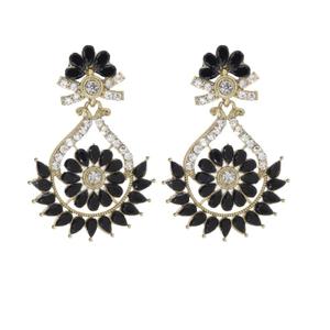 Black & white  stone artificial earring