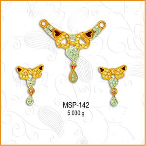 916 gold designer cz mangalsutra pendant set