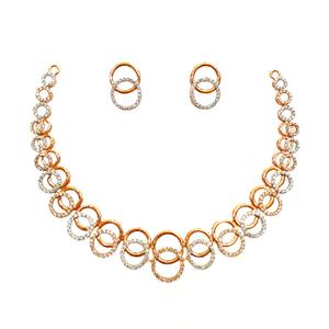 18k rose gold designer diamond necklace set m