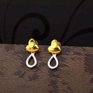 Ladies 916 gold plain earring -lpe162