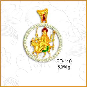 916 cz gold hindu religious maa pendant pd-11