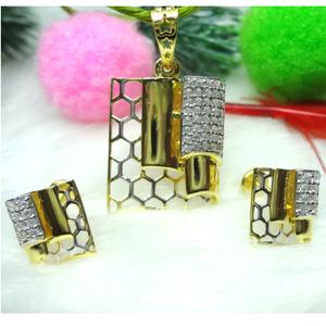 916 gold cz square pendant set