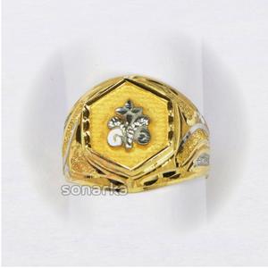 22kt gold gents ring machine cut nakshi rhodi