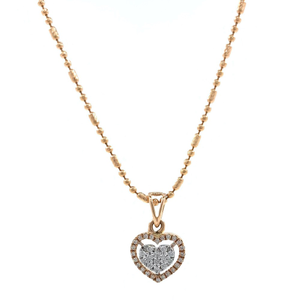 Heart pendant in diamond in 18k rose gold 9sh