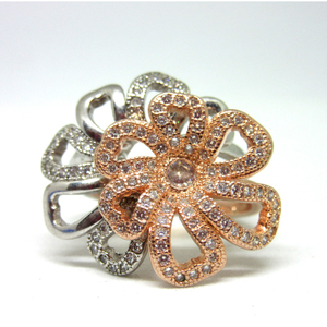 Silver 925 2 in 1 rose gold polis ring sr925-