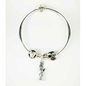 Fancy 925 silver ladies kada bracelet with st