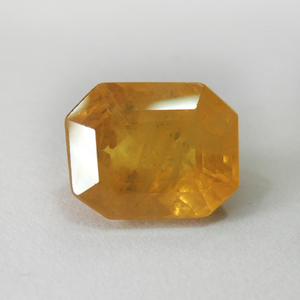3.68ct rectangle faceted yellow-sap