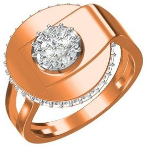 18kt cz rose gold ladies ring