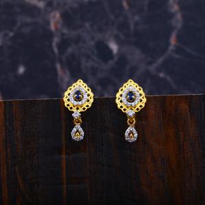 Ladies 916 gold cz earrings-lfe80