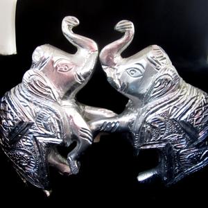 Metal 2 pair of elephant (hathi) washable &am