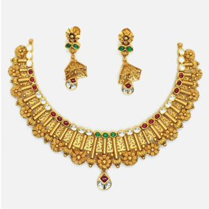 22k gold antique wedding necklace set rhj - 4