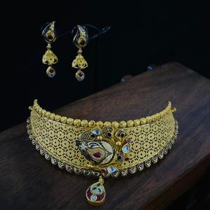 916 gold classic choker hallmark necklace set