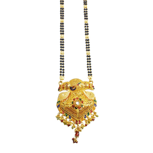 916 gold modern peacock mangalsutra mga - gm0