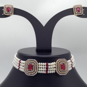White and red cz choker set with 4 line fl