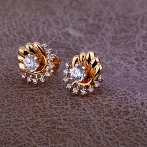 Ladies 18k rose gold fancy modern earring -re